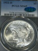 1922-D PEACE DOLLAR PCGS MINT STATE 65 CAC BLAST WHITE SUPERB FROSTY LUSTER PQ G560