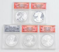 LOT OF 5 2011 $1.00 AMERICAN SILVER EAGLES - ANACS GRADED 2656