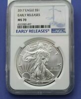 2017 SILVER EAGLE EARLY RELEASES .999 1 OUNCE NGC MS70