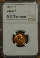 1949-S LINCOLN WHEAT CENT 1 - GRADED BY NGC MINT STATE 66 RED-4816669-104