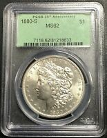 1880-S U.S. MORGAN SILVER DOLLAR  PCGS GRADED MINT STATE 62  OGH $2.95 MAX SHIPPING