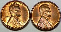 1937 D 1938 D LINCOLN HEAD WHEAT CENT 1C LOT OF 2 SOME GOOD RED PENNY LUSTER D56