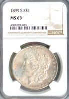 1899-S MORGAN DOLLAR MINT STATE 63 NGC PA4308197015