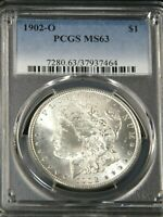 1902-O MORGAN SILVER DOLLAR PCGS MINT STATE 63 BLAST WHITE SUPERB FROSTY LUSTER PQ G408A