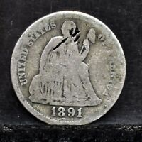 1891-O SEATED LIBERTY DIME - VG DETAILS 25082