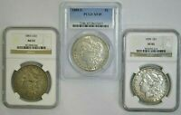 LOT OF 3 BETTER DATE MORGAN SILVER DOLLARS  1883-S, 1888-S, 1899  NGC PCGS