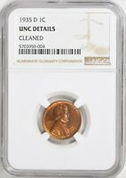 1935-D LINCOLN WHEAT CENT 1C NGC UNC DETAILS CLEANED