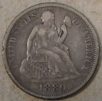 1889 SEATED LIBERTY DIME VF