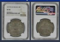 1877 MEXICO ZS JS 8 REALES NGC XF 45