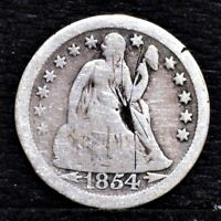 1854-O SEATED LIBERTY DIME - VG DETAILS 25634