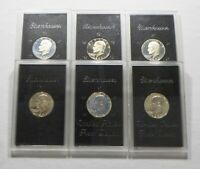 LOT OF 6 EISENHOWER PROOF SILVER DOLLARS    4  1971 S 1973 S