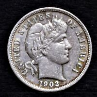 1902-S BARBER DIME - EXTRA FINE  25703