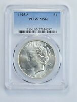 MINT STATE 62 1925-S PEACE SILVER DOLLAR - GRADED PCGS 5791