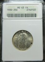 1930 STANDING LIBERTY QUARTER COIN   ANACS MS 63 FH