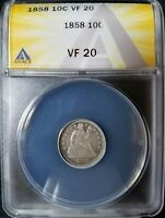 1858 10C SEATED LIBERTY DIME ANACS VF-20 PHILADELPHIA MINT