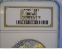 1890 MORGAN SILVER DOLLAR NGC MINT STATE 64-   TAKE A LOOK