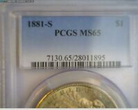 1881-S  MORGAN SILVER DOLLAR PCGS MINT STATE 65 -   GOLD TONING   TAKE A LOOK