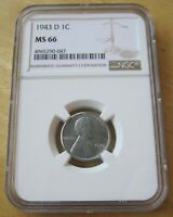 1943-D U.S. LINCOLN STEEL CENT, COIN GRADED BY NGC MINT STATE 66, WORLD WAR II