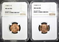 1948-D&S LINCOLN CENTS, NGC MINT STATE 66 RED