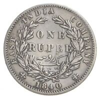 WORLD COIN   1840 EAST INDIA COMPANY 1 RUPEE   WORLD SILVER