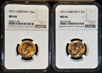 2 LUSTROUS 1911 GREAT BRITAIN GOLD SOVEREIGN COINS   NGC MS6