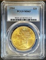 LUSTROUS 1904 $20 LIBERTY GOLD DOUBLE EAGLE PCGS MS63
