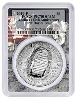 2019 P APOLLO 11 50TH ANNIV SILVER DOLLAR PCGS PR70 FIRST DAY ISSUE SPACE FRAME