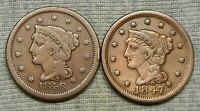 LOT OF 2 BRAIDED HAIR LARGE CENTS   1846 & 1847