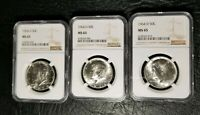 3 GRADED NGC MINT STATE 65 1964 D KENNEDY HALF DOLLAR SILVER COINS- DENVER MINT