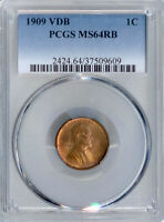 1909 VDB LINCOLN CENT MINT STATE 64RB PCGS PA37509609