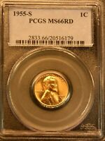 1955-S LINCOLN CENT PCGS MINT STATE 66RD  BRIGHT RED SUPERB LUSTER, PPQ G662