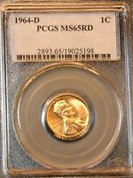 1964-D LINCOLN CENT PCGS MINT STATE 65RD BRIGHT RED SUPERB LUSTER, PPQ G666