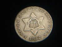 US COIN 1852 3 THREE CENT SILVER BETTER GRADE