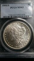 1890-S PCGS MINT STATE 63 MORGAN SILVER DOLLAR - BETTER DATE - CLEAN CHOICE UNCIRCULATED