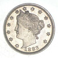 CHOICE AU  1883 NO CENT   LIBERTY V NICKEL   VICTORY   FIRST YEAR ISSUE