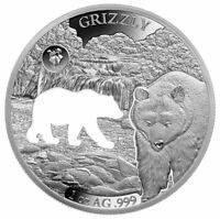 2020 BARBADOS SHAPES AMERICA CUT OUT HR 1 OZ PROOF LIKE SILVER GRIZZLY SKU59242