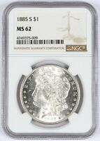 1885-S MORGAN SILVER DOLLAR NGC MINT STATE 62 $1 UNC