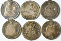 LOT OF 6   LIBERTY SEATED HALF DIMES   7426905213018