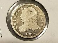 1836  10C SILVER CAPPED BUST DIME  F  FINE   10 CENTS   LOW