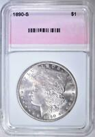 1890-S MORGAN DOLLAR, CH/ GEM BU