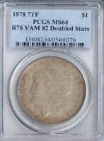 1878 7TF MORGAN DOLLAR R78 VAM 82 DOUBLE STARS MINT STATE 64 PCGS PA5460376