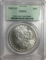 1902-O PCGS MINT STATE 64 MORGAN SILVER DOLLAR OGH WHITE W/LITE GOLDEN TONING MINT STATE 64 945
