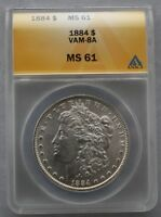 1884 P ANACS MINT STATE 61 VAM 8D2 - WAS 8A - FAR DATE, CLASHED OBVERSE N & ST