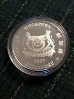 2007 $2 SILVER PROOF COIN SINGAPORE 999 FINE SILVER NO.4800/