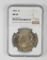 MINT STATE 63 1885 MORGAN SILVER DOLLAR - TONED - GRADED NGC 4486
