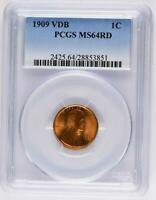 1909 VDB LINCOLN WHEAT CENT MINT STATE 64 RD - RED PCGS