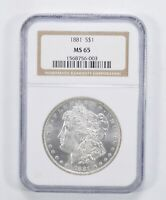 MINT STATE 65 1881 MORGAN SILVER DOLLAR - NGC GRADED 3039