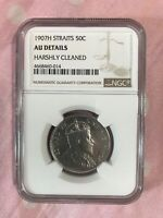 1907H STRAITS SETTLEMENTS KEVII 50 CENTS GRADED NGC AUNC