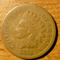 1874 U.S. INDIAN HEAD CENT, PENNY
