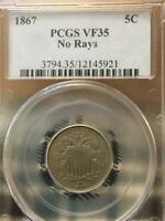 1867 NO RAYS 5C SHIELD NICKEL PCGS VF35, SHIPS FREE